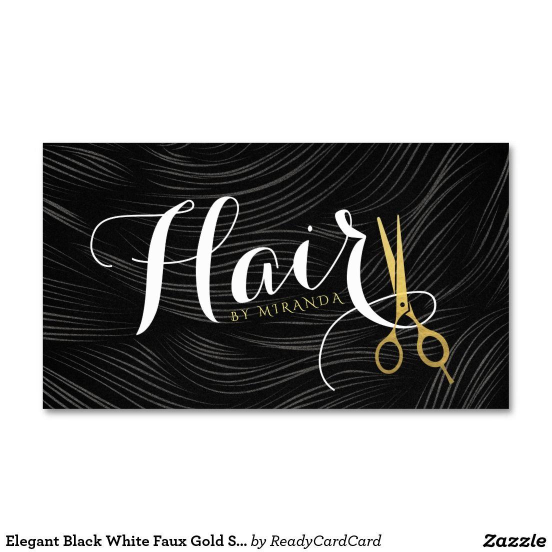 Elegant Black White Faux Gold Scissors Hair Salon Business Card ...