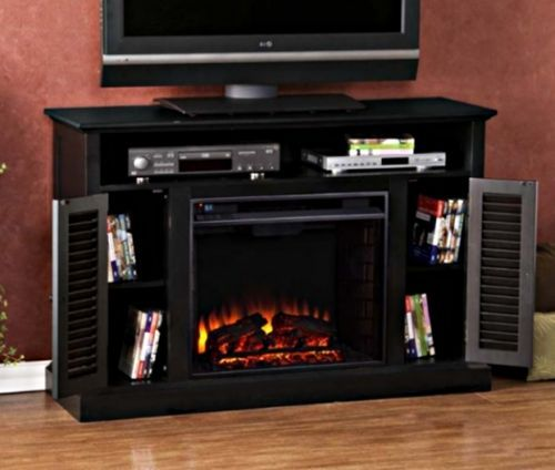 Electric Fireplace Tv Stand Black Cherry Media Console Entertainment