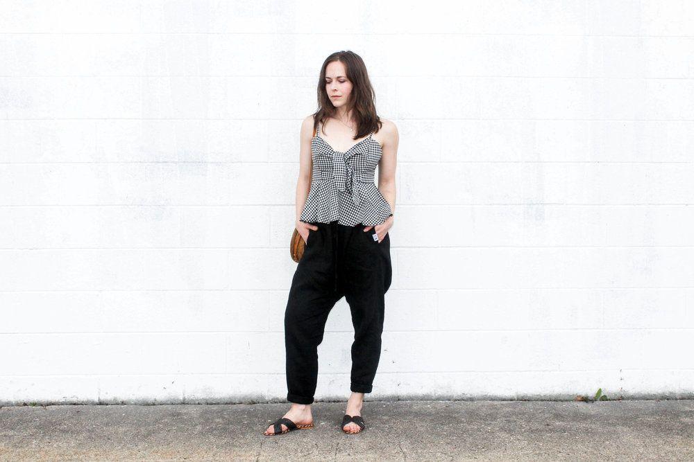 Posse Bridgette Gingham Top, Linen Fox Harem Pants, Posse St. Tropez Slides, Salt Shoppe Soleil Roundie - Taylorkristiina.com
