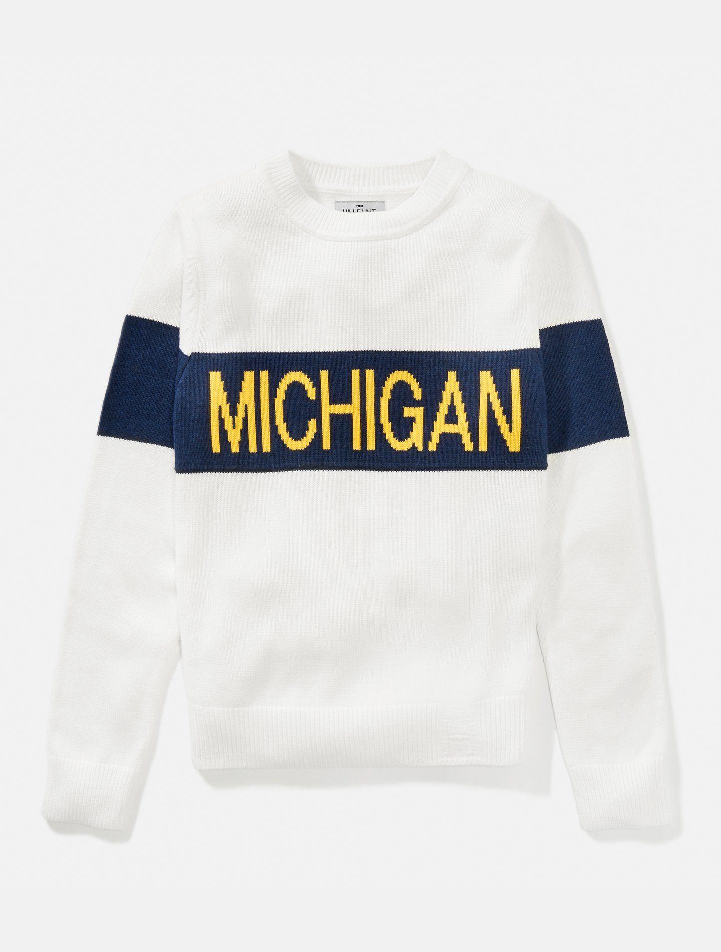 University Of Michigan Women S Retro Stripe Sweater Wolverines Michigan Apparel Retro Stripes Stripe Sweater [ 1900 x 1440 Pixel ]