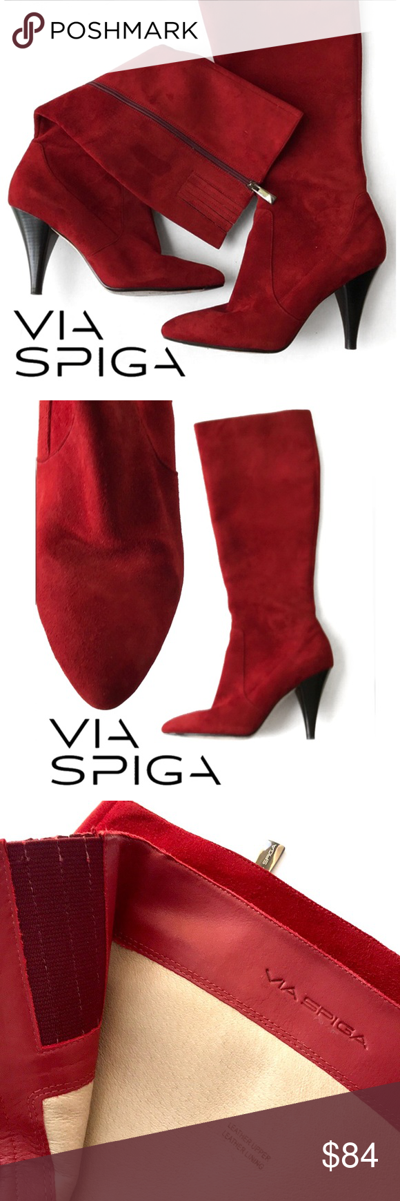Via Spiga Shanti Red Suede Knee High Zipper Boots Zipper Boots Red Suede Shoes Women Heels