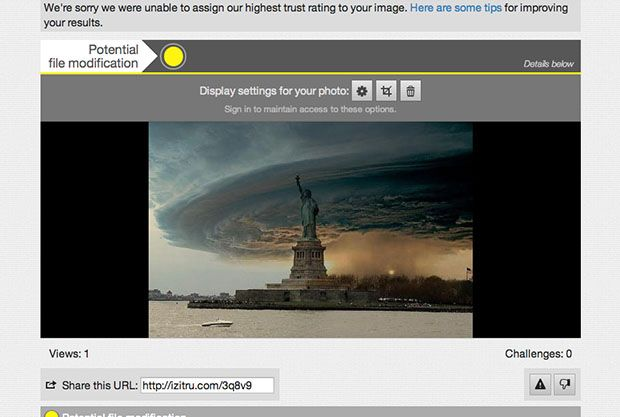 A website that will tell you if a photo has been photoshopped, photo authenticity