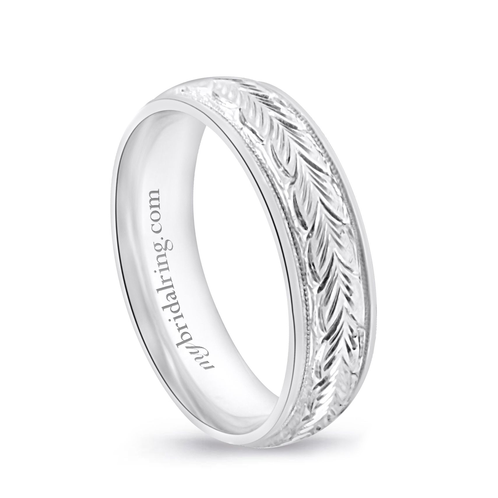 Hand Engraved Mens Wedding Band In 14k White Gold Mens Wedding Bands Mens Engraved Wedding Bands Wedding Bands