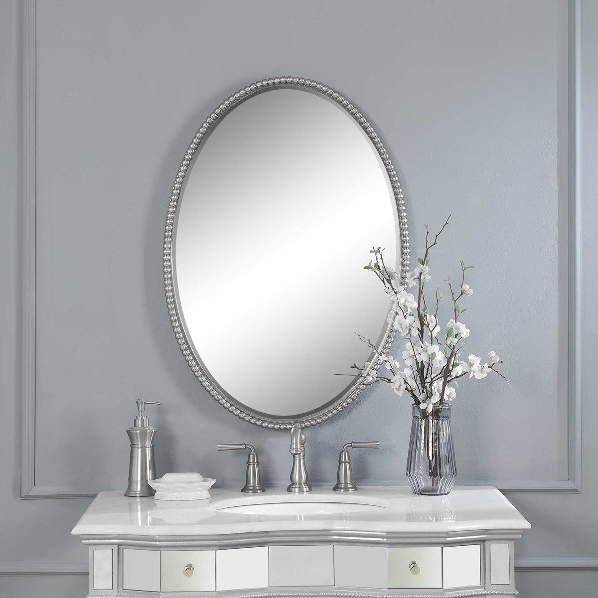 Uttermost Sherise Brushed Nickel Oval Mirror Round Mirror Bathroom Oval Mirror Bathroom Oval Mirror
