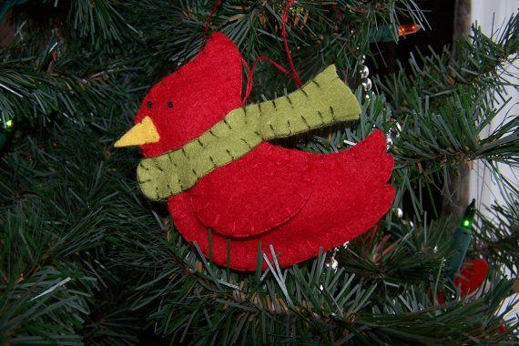 Cardinal Wool felt Christmas ornament by theowlintheteacup on Etsy