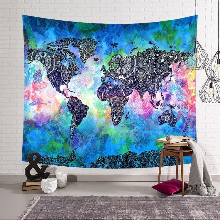 Tribal World Map Watercolor Tapestry In 2020 World Map Tapestry