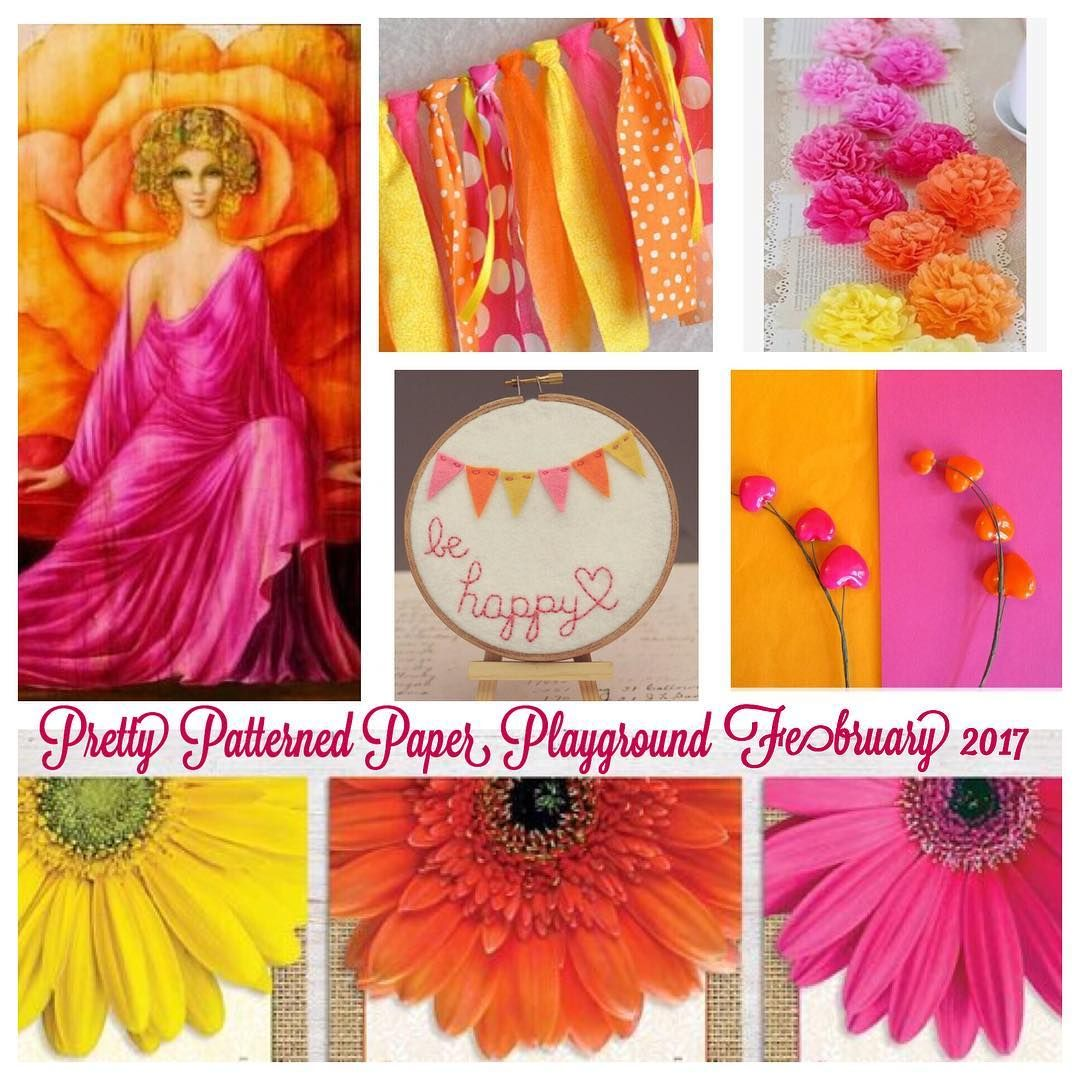 I wanted to share the #february #moodboard for @life.with.evi and I's Facebook group: Pretty Patterned Paper Playground. Come and join us. #scrap #scrapbook #scrapbooking #papercraft #inspiration #colors #pink #orange #yellow #prettypatternedpaperplayground #youtube #series #facebook #group