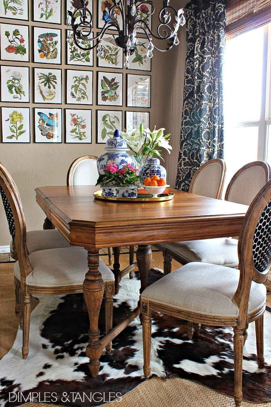 layered cowhide rugs shabby chic dining room dining room table dining room chairs on boho chic dining room kitchen dining tables id=65832