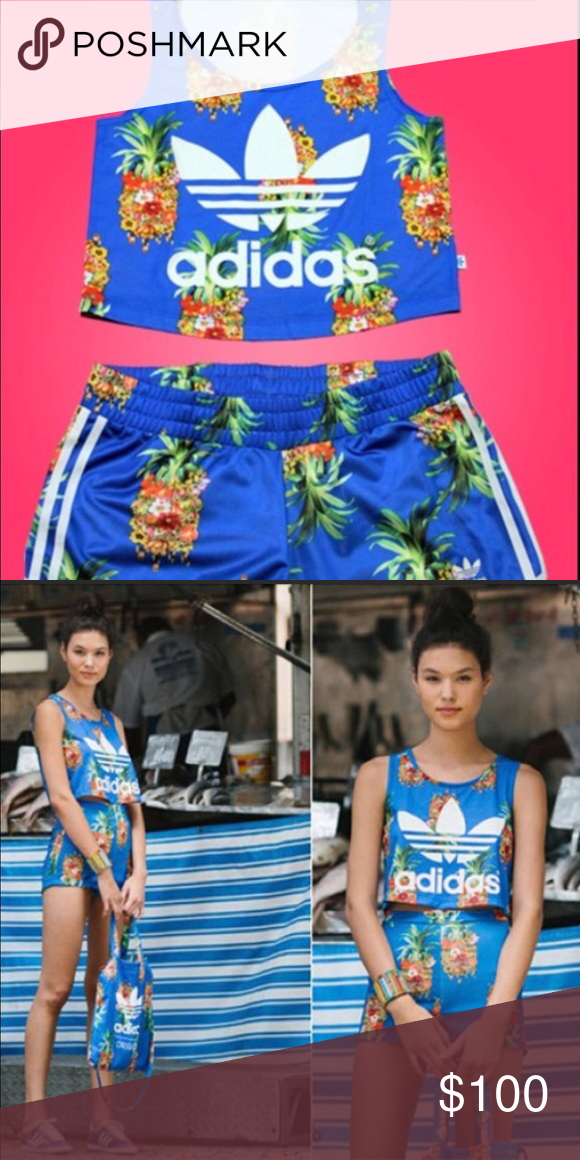42ed23785dc Adidas Pineapple crop top and shorts set Adidas pineapple cropped tank and  shorts set. The shorts are new without tags. I bought the top off of Depop  and ...