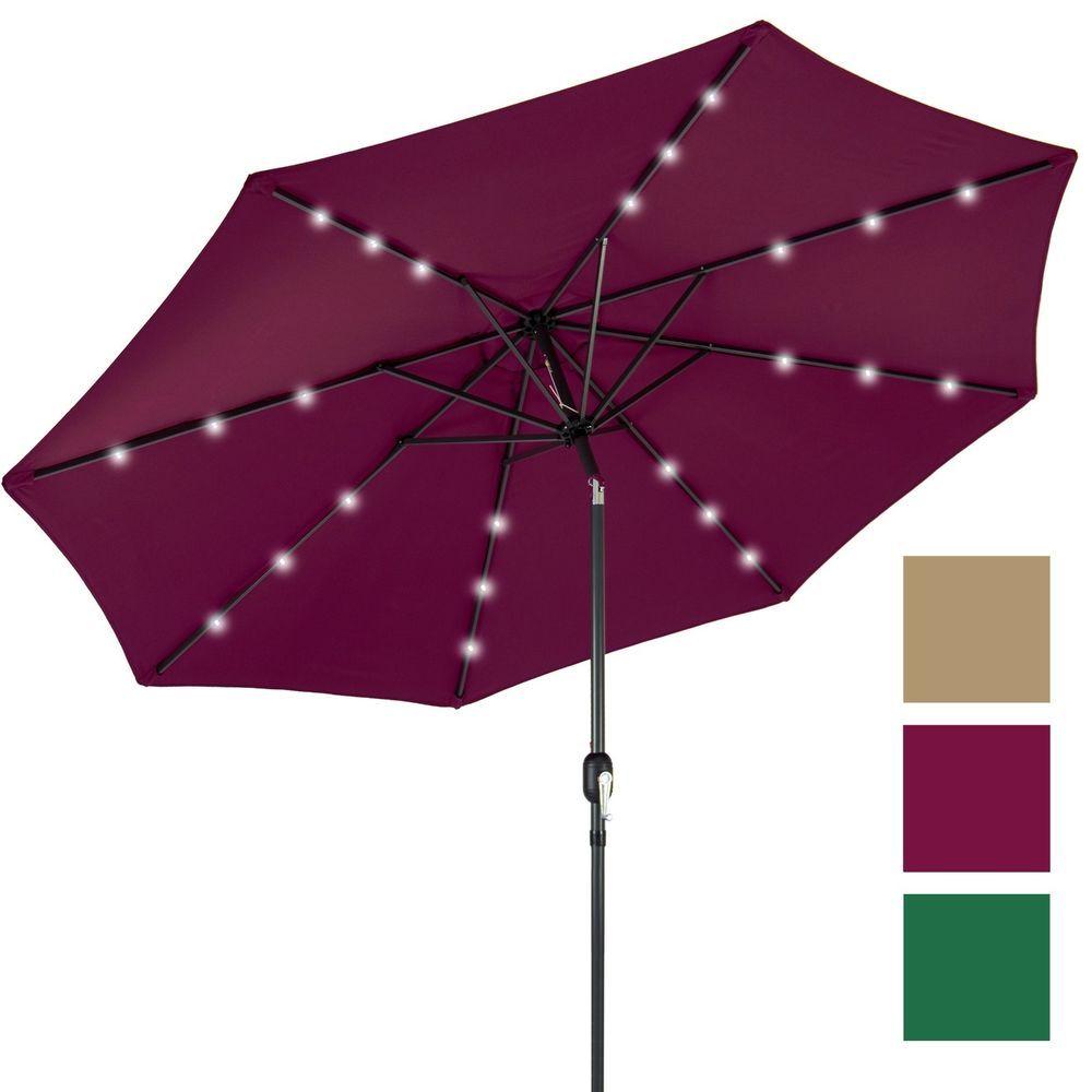 Patio Umbrella Solar Lights LED Water Resistant Wind Vent Tilt Sun Shade 10  Ft