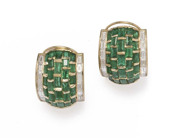 A pair of emerald diamond and 18k gold earrings Forley