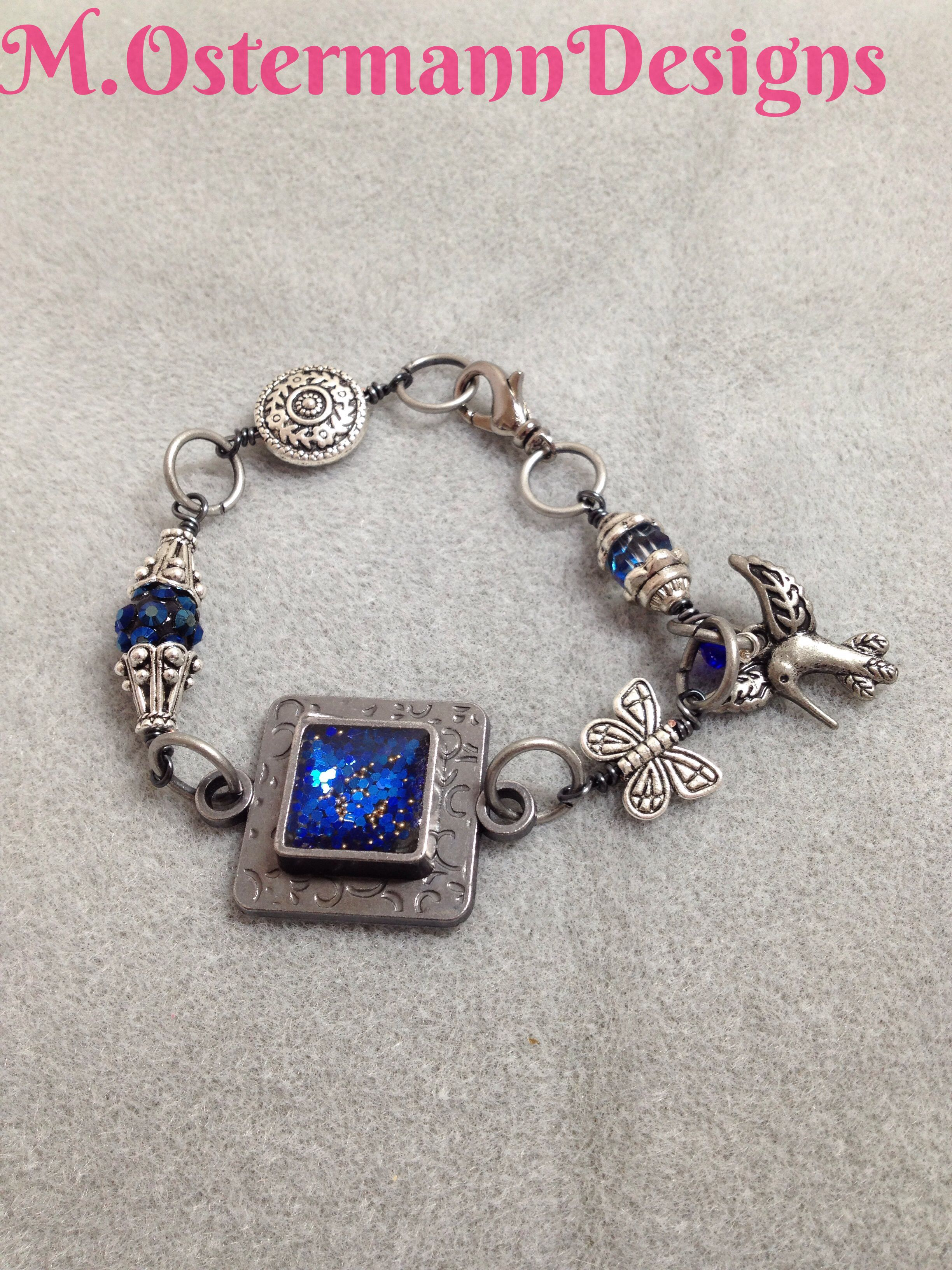 Royal Resin Plaque Wire Wrapped Bracelet
