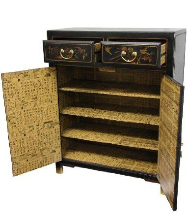 Oriental Furniture Classic Asian Furniture and Decor 38-Inch Black Lacquer Two Drawer Oriental Shoe Cabinet
