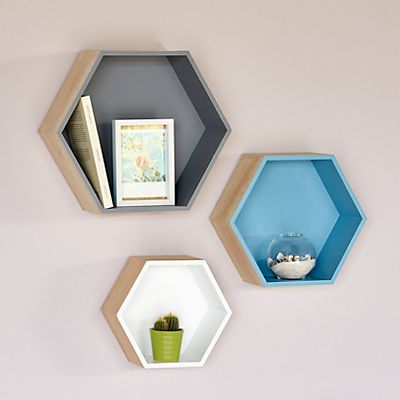 Rush etag re hexagonale grand mod le etagere cube murale for Decoration murale hexagonale