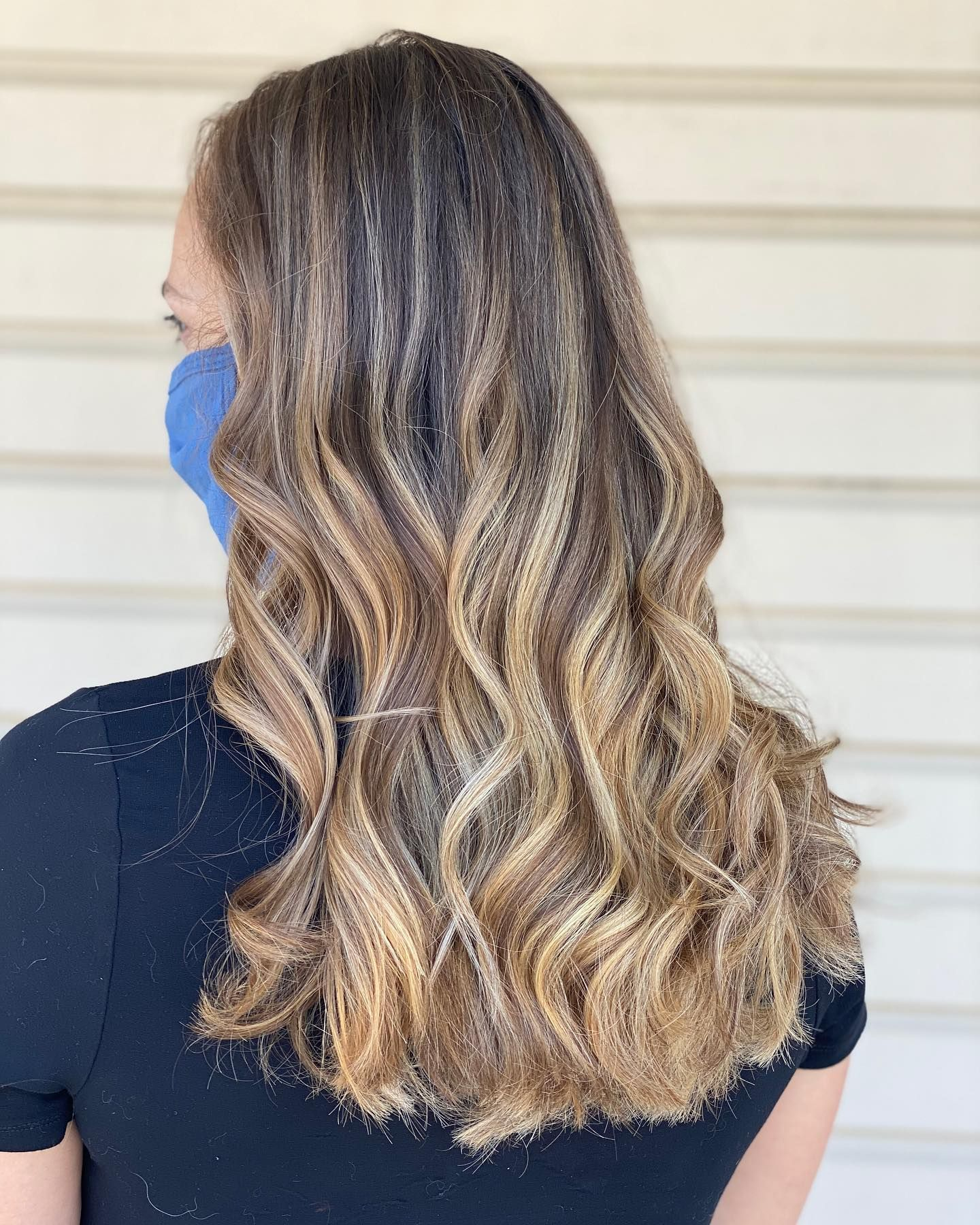 Balayaged color melt from brunette to honey blonde created by Stylist Megan. Call 410-795-9465 to reserve today! #blonde #blondehair #highlights #balayage #colormelt #ombre #summerhair #fallhair