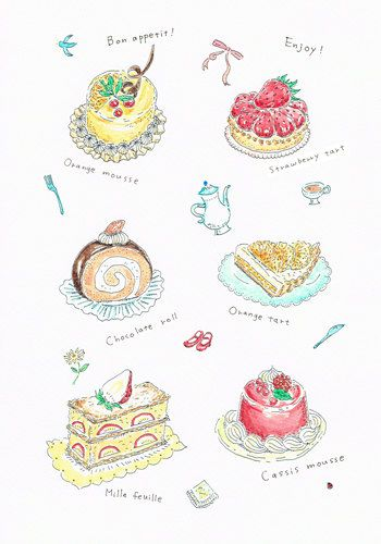 Cakes  original illustration by yuuco on Etsy, $150.00 Etsy banners #etsybanners  http://www.etsy.com/shop/BannerSetDesigns?section_id=14009996