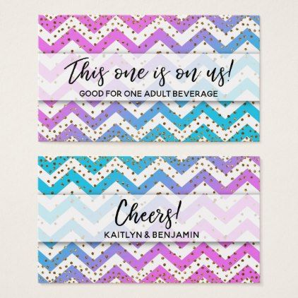 pink turquoise ombre chevron gold drink tickets script gifts