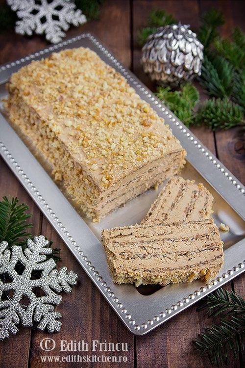 Prajitura cu ness si nuca - prajitura cu blat din albusuri, zahar si nuca si crema delicioasa din unt, galbenusuri si ness. Topping de krantz