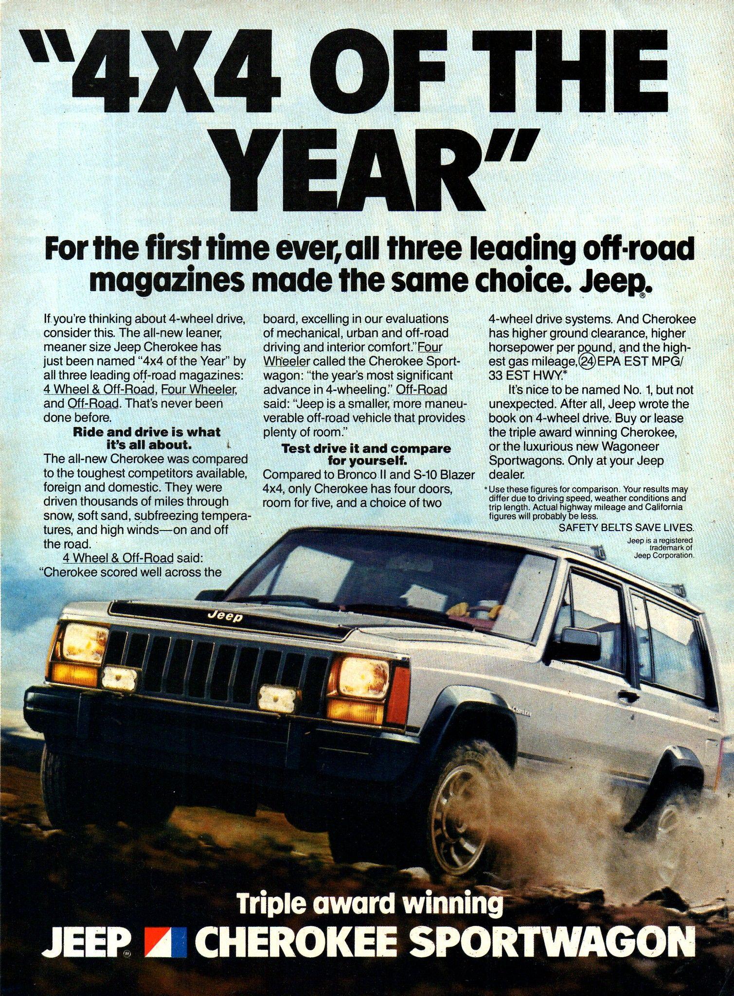 1984 Jeep Cherokee Sportwagon 4wd Wagon American Motors Usa Original Magazine Advertisement Jeep Cherokee Jeep Jeep Cherokee Xj
