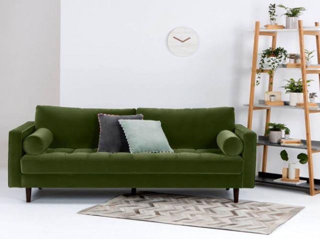 tendance on craque pour le vert for t et vous canap s vert fonc canap vert et vert fonc. Black Bedroom Furniture Sets. Home Design Ideas