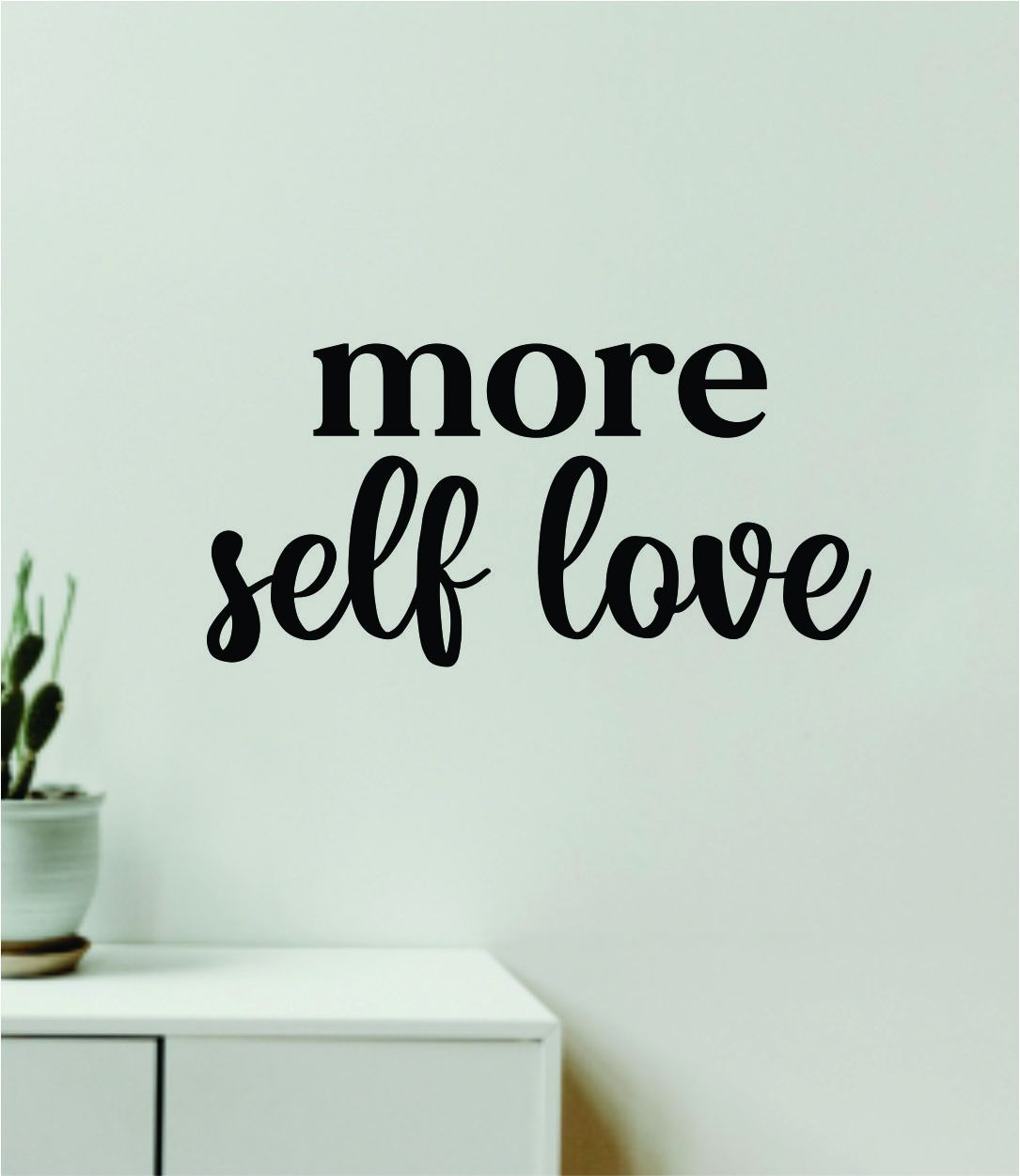 More Self Love Quote Wall Decal Sticker Vinyl Art Decor Bedroom Room Girls Inspirational Motivational Trendy Health Gym Mirror - olympic blue