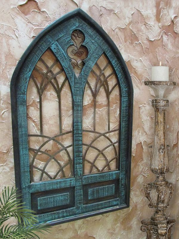 Bellasoleil Com Cattedrale Double Cathedral Window Wall Grille Turquoise 199 97 Http Www Bellasoleil Com Wall Grille Tuscan Decorating Arched Wall Decor