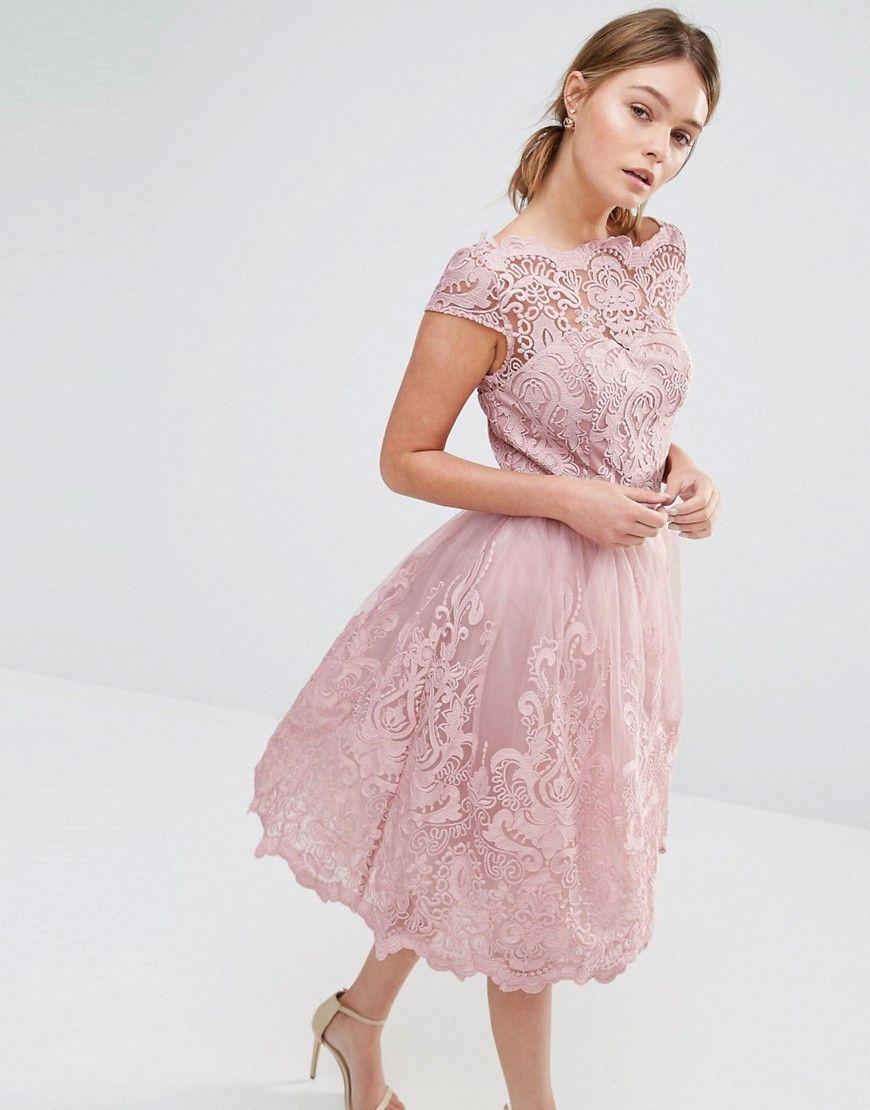 f4eae449e34ba Chi Chi London Premium Lace Midi Prom Dress with Bardot Neck - Pink