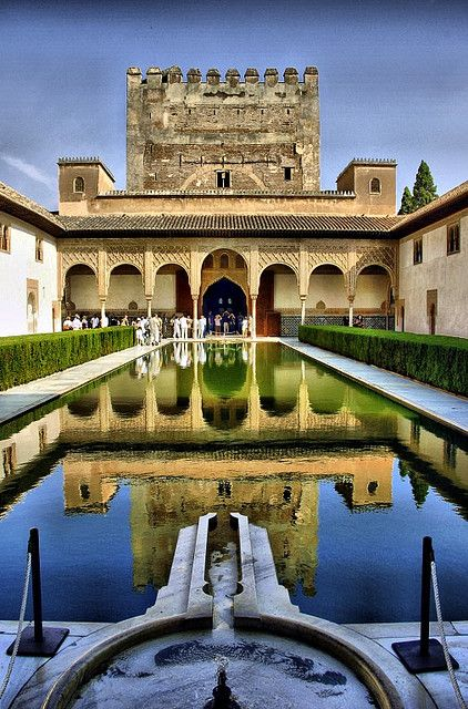 """SPAIN / ANDALUSIA / Places, towns and villages of Andalusia -  Granada. Alhambra, (12-13th century). Moorish poets described it as """"a pearl set in emeralds,"""" an allusion to the colour of its buildings and the woods around them. It is now one of Spain's major tourist attractions, exhibiting the country's most significant and well-known Islamic architecture. The Alhambra is a UNESCO World Heritage Site and the inspiration for many songs and stories."""