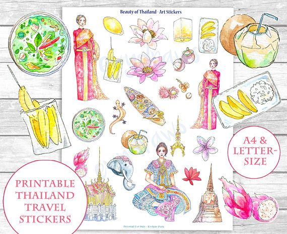 Watercolor Beauty Of Thailand Stickers This Printable Sticker