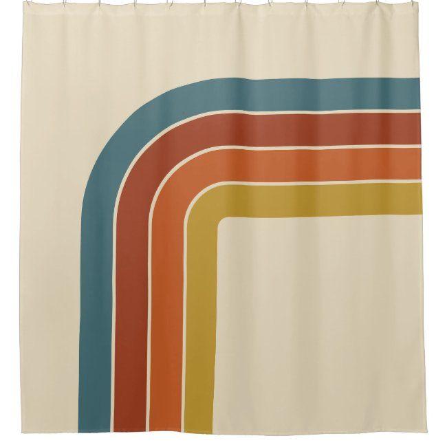 retro 70s curve shower curtain zazzle