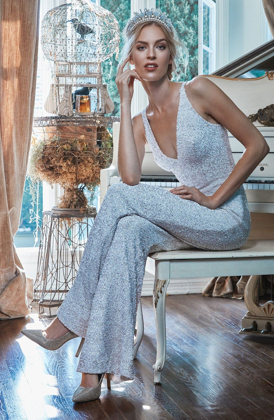 Charlie Sequin Jumpsuit in white, gold, brown and black | Nordstrom ...