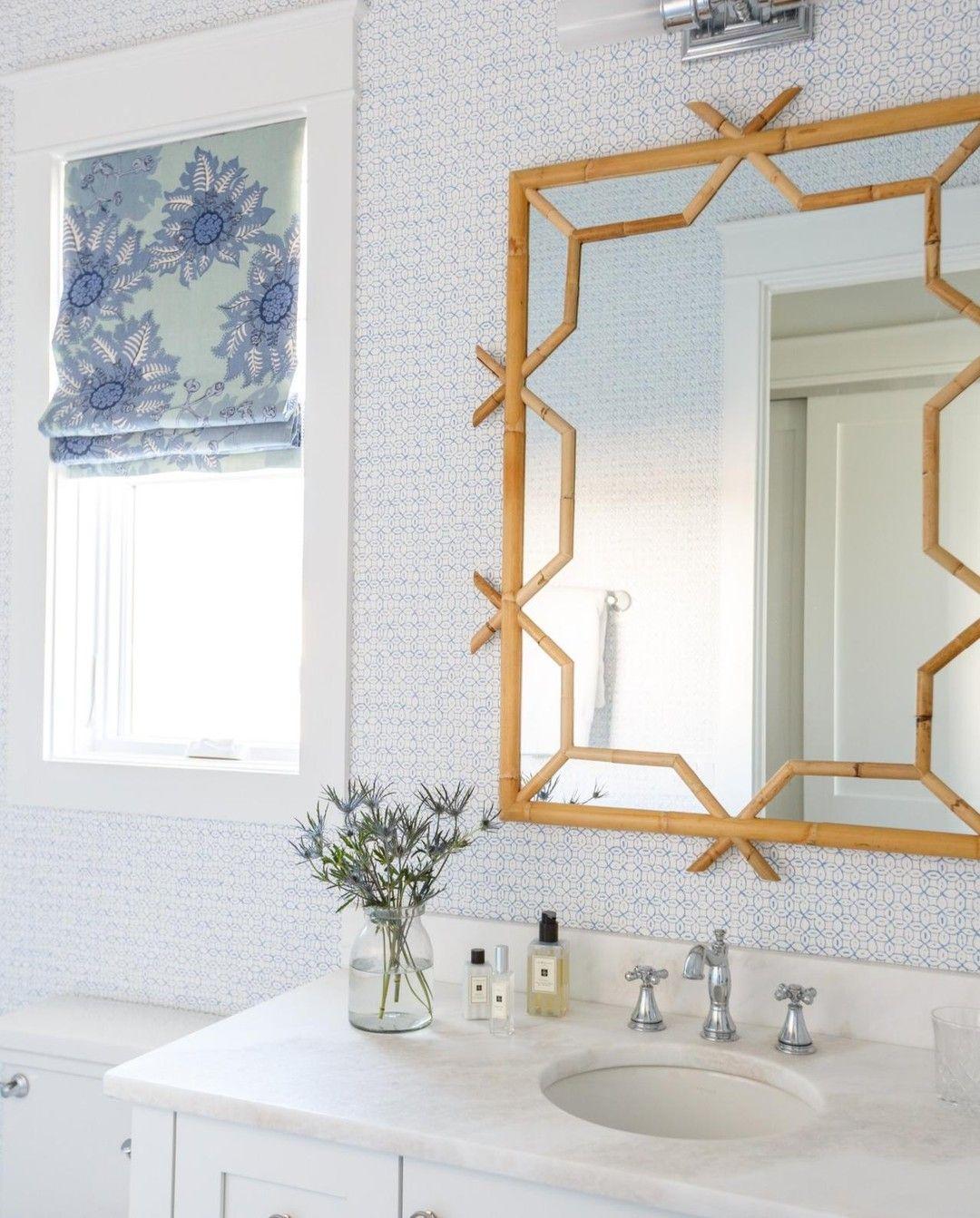 Geometric Designed Mirror Bathroom Inspiration Powder Room Mirror Bathroom Wallpaper