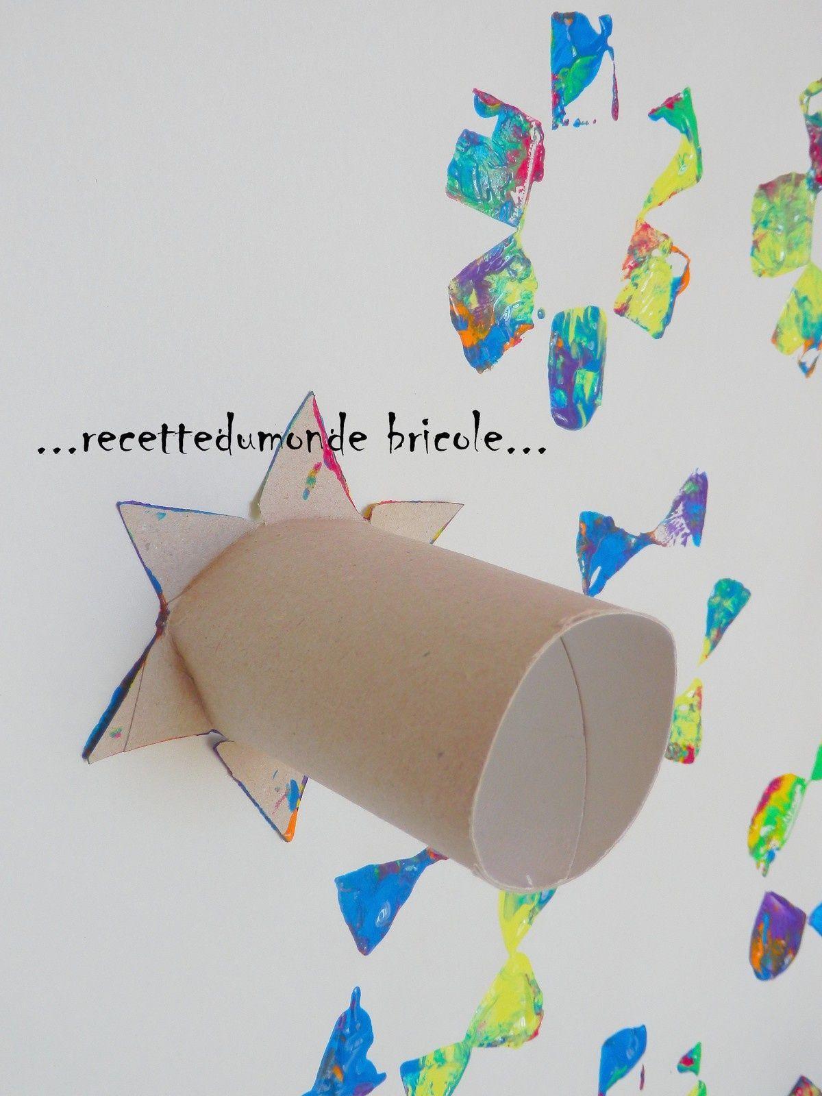 peindre avec des tampons en rouleaux de papier bricolage enfant papier tampons et activit. Black Bedroom Furniture Sets. Home Design Ideas