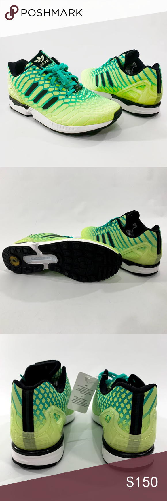 dfa544dde3a23 Adidas ZX Flux XENO Men s Reflective Running Shoes ADIDAS adidas ZX Flux  AQ8212 Men s Running Shoes Size 12 Green Black Low top Lace up New without  box ...