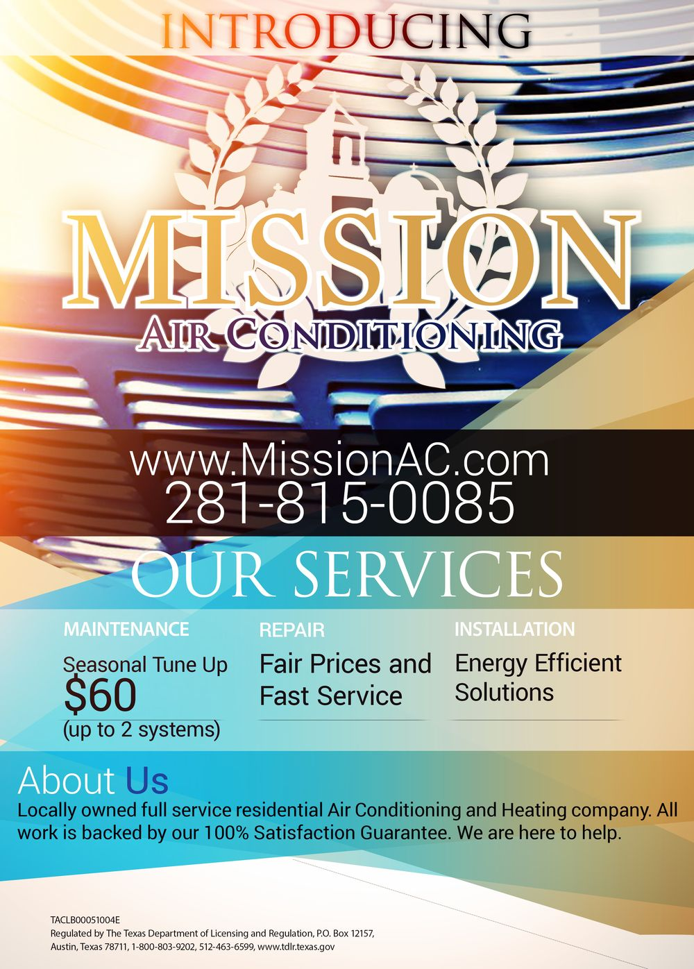 Mission Air Conditioning Poster Flyer Hvac Company Advertising