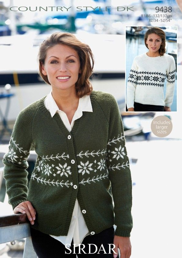 Snowflake Cardigan And Sweater In Sirdar Country Style Dk 9438