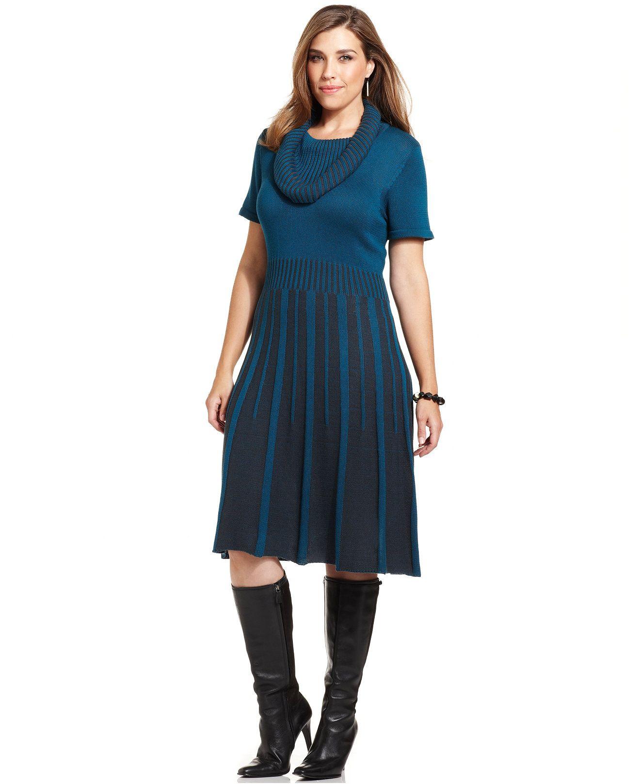 b50b2270bf Alfani Plus Size Striped Cowl-Neck Sweater Dress - Plus Size Sale    Clearance - Plus Sizes - Macy s
