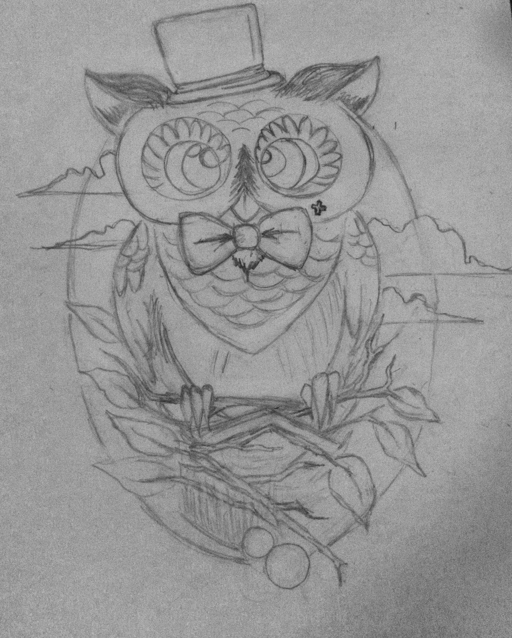 Männliche Eule Tattoo gezeichnet für eine Freundin #tattoo ...
