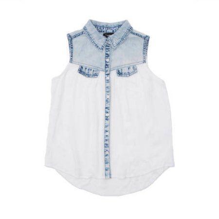 Jordache Girls' Button Front Shirt with Denim Yoke, White