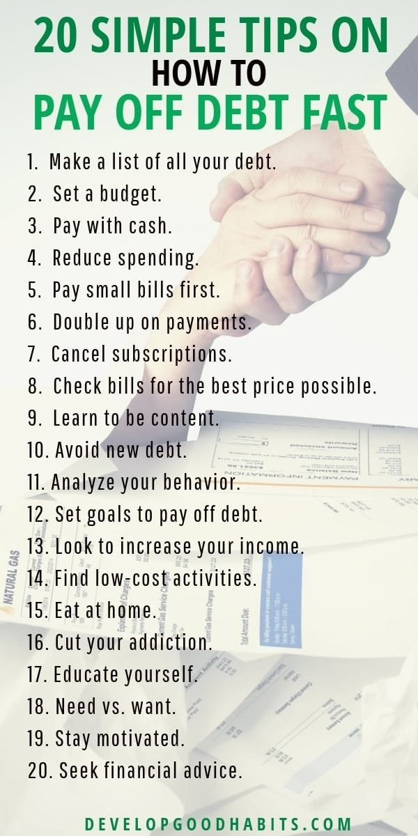 20 Simple Tips on How to Pay Off Debt Fast Get simple tips on how to pay off debt fast and how to pay off debt when you are broke. See details in the full article