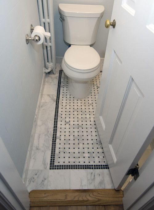 Small Powder Room With Mosaic Floor Decor Ideas