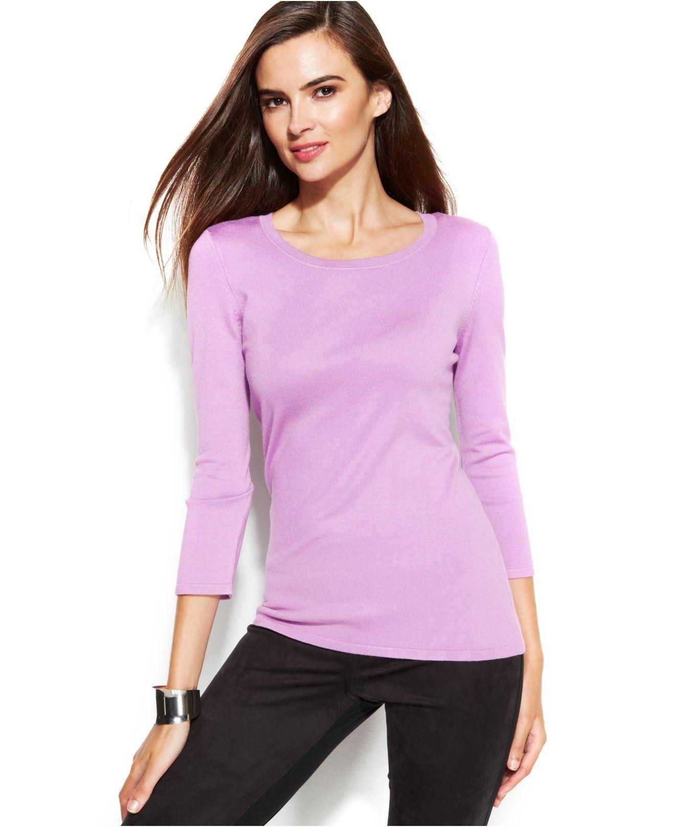 INC International Concepts Three-Quarter-Sleeve Scoop-Neck Sweater ...