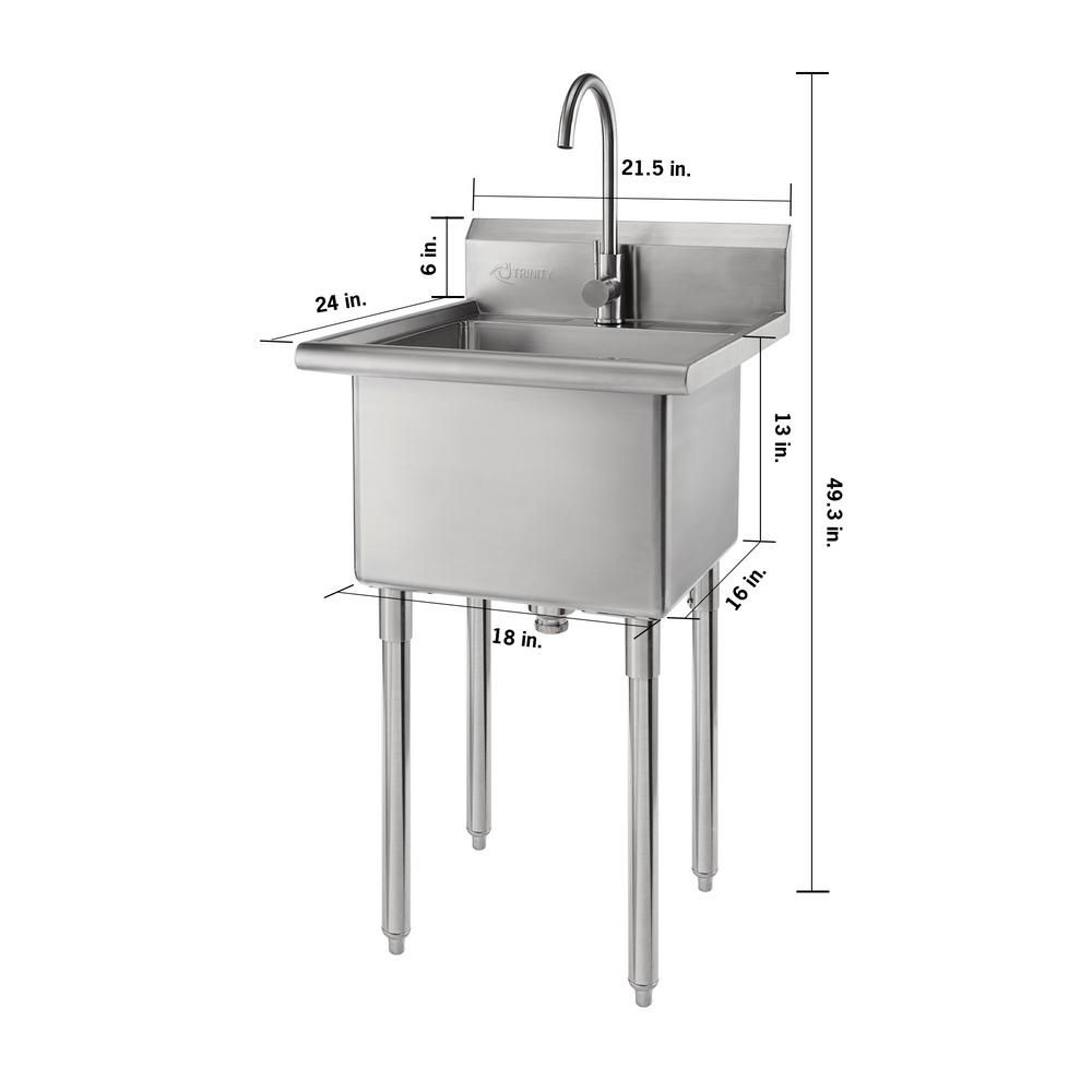 Trinity 21 5 In W X 24 In D X 49 3 In H Stainless Steel Utility