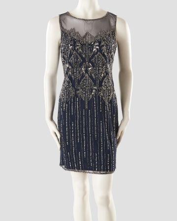 c6721c2163 Beaded Sleeveless Illusion Dress
