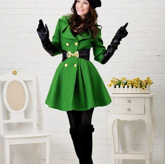 Outerwear for Women | 2011 New Lady women's luxury green wool coat ...