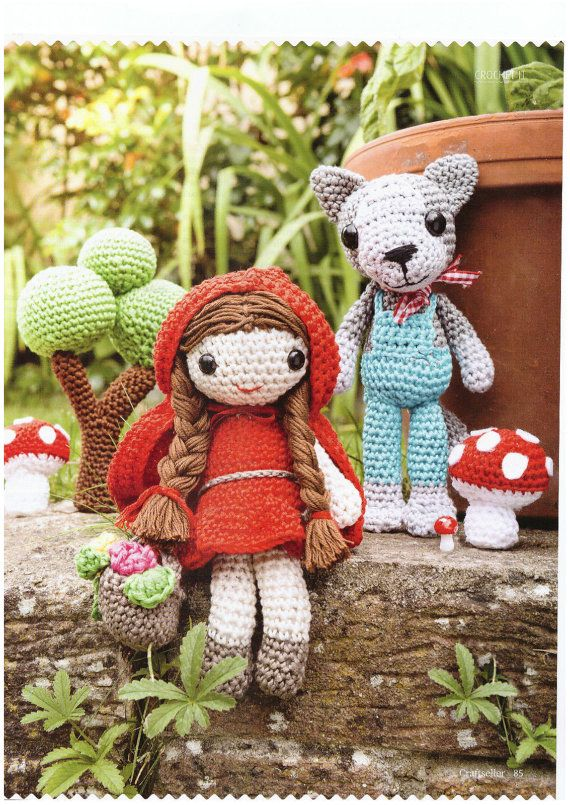 Red riding hood and wolf, tree and toadstools amigurumi PDF crochet ...