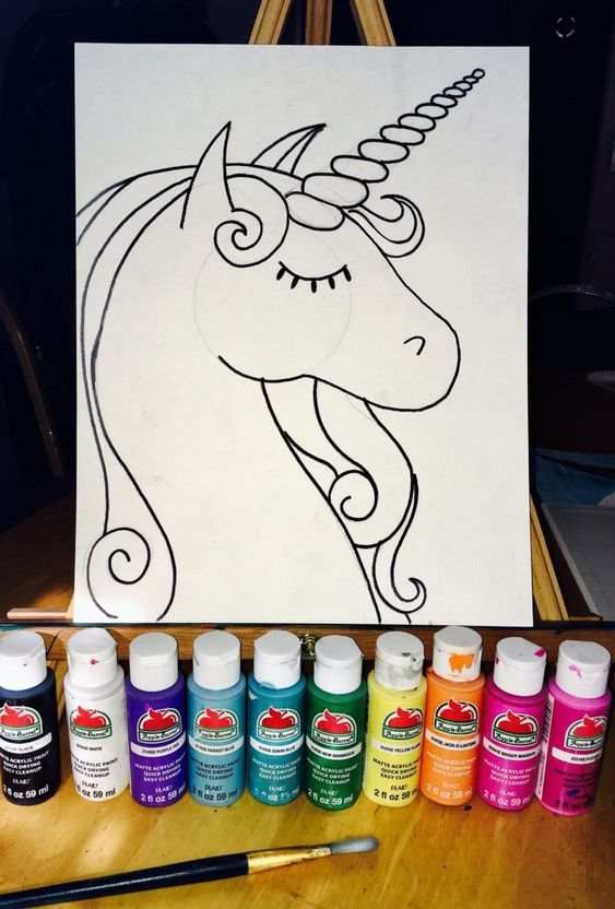 How To Paint A Rainbow Unicorn  Easy is part of Unicorn painting, Unicorn, Painting, Unicorn drawing, Step by step painting, Unicorn art - Learn how to paint this rainbow unicorn with acrylic paint on canvas! This is an easy beginner painting tutorial with a traceable and full video!