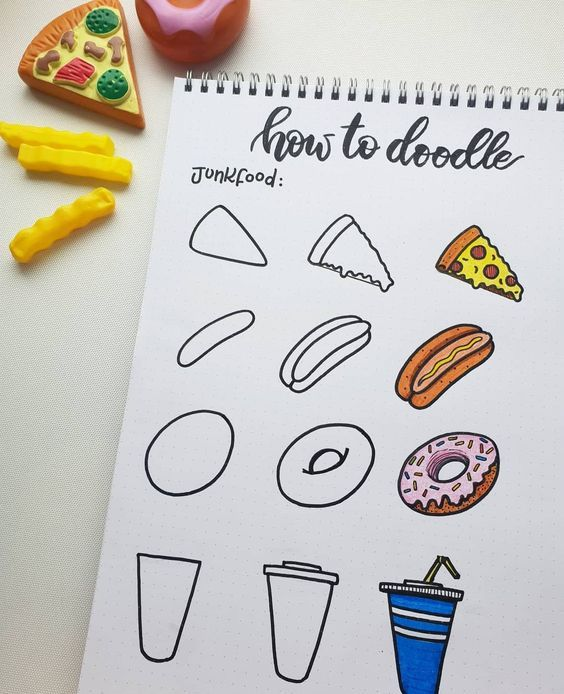 12 Food Doodles (Step By Step) For Your Bullet Journal