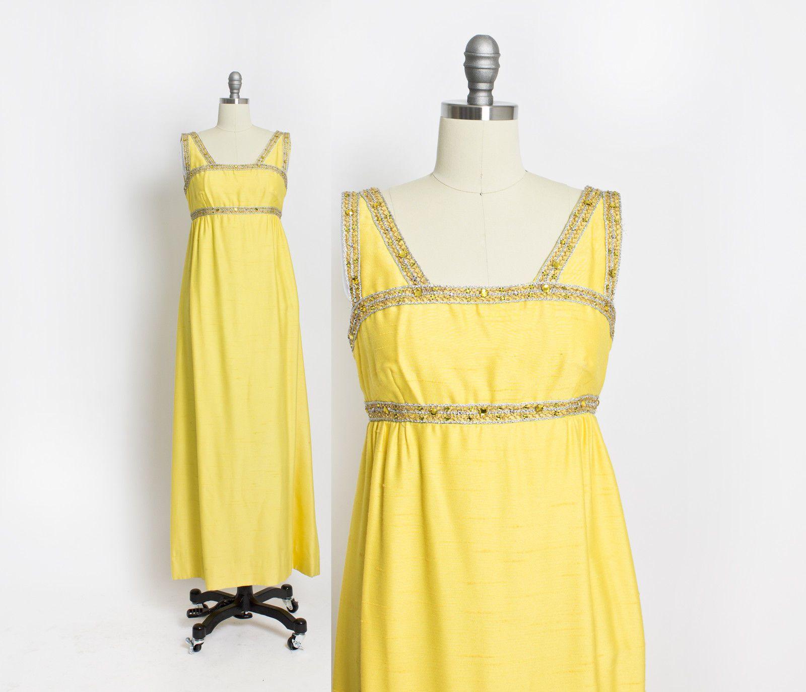Vintage s dress imagnin yellow raw silk rhinestone gown empire
