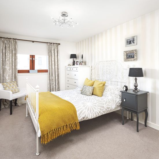 Pale Grey Bedroom With Mustard Yellow Accents